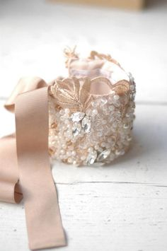 This cuff compliments white, ivory and of course blush | Beautiful beading and details! | Cuff Bracelet Jewelry