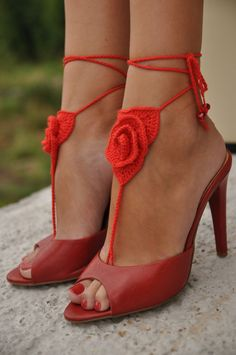 Crochet Barefoot Sandals, Red Rose, Lace shoes, Beach Pool Wear, SEXY. $17.00, via Etsy.