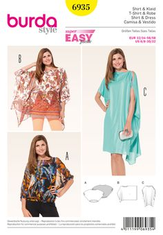 Misses Top and Dress Burda Sewing Pattern No. 6935. Size 6-32.