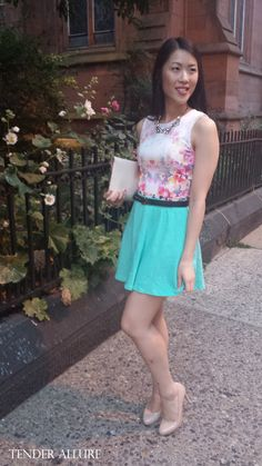 Watercolor Florals on Tender Allure. Watercolor floral top from Forever 21, mint green skirt from Charlotte Russe, crystal statement necklace from ShopLately, white envelope clutch from Romwe, black & gold waist belt from Asos, nude heels from Target, gold bangles from ShopLately.