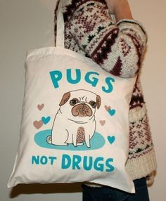 Pugs Not Drugs tote bag by Gemma Correll
