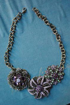 purple brooch necklace