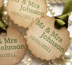 100 Wedding Favour Tags - Scallop Custom Labels - Your Names and Colour Choice £36.00
