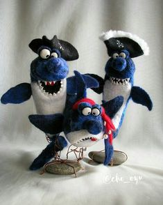Cute Needle felting wool animals cute sharks buddies (Via @cho_oyu)