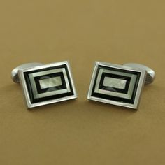 Stainless Steel Mother-of-Pearl & Onyx Inlay Rectangle Dome Cuff Links $119.00