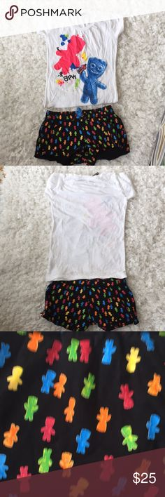 Sour patch Kids t-shirt and shorts set Super cute Pour Patch Kids t-shirt and shorts set.  Bought for my daughter worn once. Sour Patch Kids Shorts