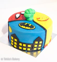 superhero cake with spiderman, hulk, ironman and batman www.tekila.fi
