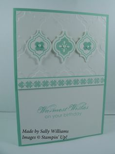 handmade card from Deb's Stampin' Style ... Mosaic Madness suite ... Coastal Cabana and white ... like the use of all three parts of the suite to maintain the theme ... symmetrical design ... lots of white space ... luv the tiny pearls on the tiles ... Stampin' Up!