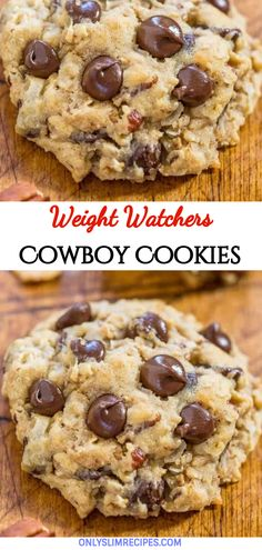 Cowboy Cookies – Weight Watchers Recipes Source by Weight Watchers Snacks, Weight Watcher Cookies, Ww Desserts, Healthy Desserts, Dessert Recipes, Healthy Cookies, Chocolate Desserts, Diabetic Cookie Recipes, Healthy Cookie Recipes