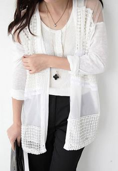 """$31.99  Street-chic Style Floral Cutout Chiffon Spliced Lace Outerwear Style: Street-chic Style  Heat:  Floral Cutout  Feature:  Lace Spliced Organza  Color: White  Material: Chiffon/Lace  Size: One Size: Length: 66-71CM(25.98""""-27.95"""" ) Bust: 110CM(43.31"""" ) Sleeve Length: 50CM(19.69"""" )   This semi-sheer outerwear is very chic and stylish. The floral cuto..."""
