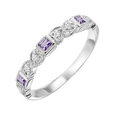 10K White Gold Amethyst/Diamond Stackable Ring