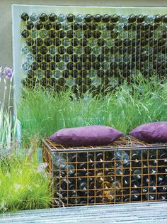 Gabions and bottles bench