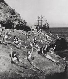 Mermaids on the set of Peter Pan, 1924.
