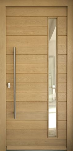 Natural veneered wooden flush door design mdf living room for Puertas de entrada de madera maciza