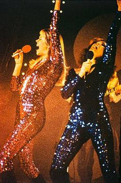 Agnetha and Frida in sequinned catsuits, recording a TV special in Tokyo, 1978.