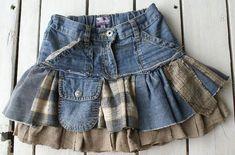 Recycled denim jean design skirt: