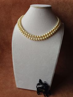 Japanese Akoya Gold Pearl Two Lines Necklace.  Size:8.0mm-7.5mm