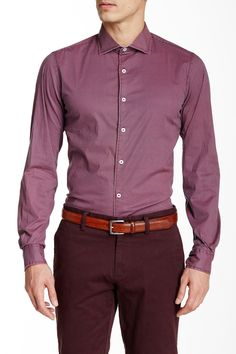 Micro Deco Print Long Sleeve Slim Fit Shirt