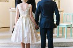 Tea length. The Vintage Wedding Dress Co. Photography by nadiameli.com