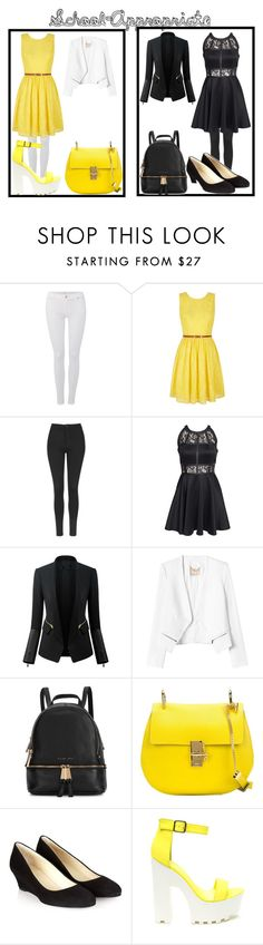 """""""School appropriate outfit choices"""" by flemisha ❤ liked on Polyvore featuring 7 For All Mankind, Yumi, Topshop, AX Paris, Chicsense, Rebecca Taylor, Michael Kors, Chloé and Hobbs"""