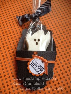 A pocket made from the Apothecary Accents Framelit makes a darling Halloween Treat Holder with the Witches Brew paper and a Ghost Peep!  Tutorial and all supplies on my blog at http://www.suestampfield.com/blog/2013/09/new-video-tutorial-for-halloween-treat-pocket-for-ghost-peeps.html Thanks for looking!