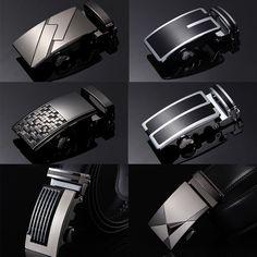 New Fashion Mens Black Automatic Buckle Genuine Leather Waist Belts 110cm-120cm