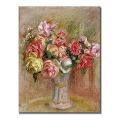 Pierre Renoir 'Roses in a Sevres vase' Art
