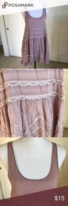 """Intimately Free People Tunic Tank Top Dress Beautiful and feminine Tunic Tank by Intimately Free People in size XS.  Lavender...100% Rayon  Approx. Measurements... Chest - 35"""" length - 36""""  All reasonable offers considered!  Come from my clean, Smoke/pet free home.   Thanks for looking Free People Tops Tank Tops"""