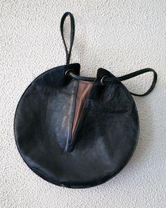 issey miyake circular leather bag
