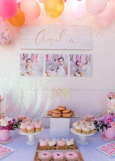 Kara's Party Ideas Donut Grow Up Birthday Party 2 Year Old Birthday Party Girl, Donut Birthday Parties, Girls Birthday Party Themes, First Birthday Decorations, Birthday Candy, Donut Party, Birthday Ideas, Circus Birthday, Circus Party