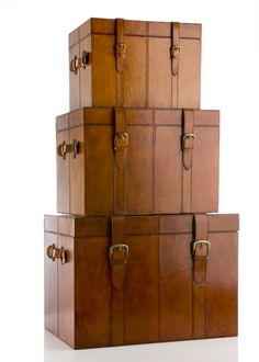 BALMUIR Set of Trunks, Cognac - Balmuir - Exclusive Collection..Trunks provide great storage and are nice alternatives for coffee tables and benches!
