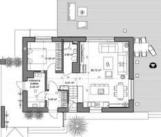 Rzut parteru projektu Domidea 58 G ps Cabana, House Plans, Floor Plans, How To Plan, Interiors, Plants, Refurbishment, Haus, Blueprints For Homes