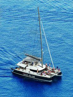 Live the life of a king on a full day private sail #catamaran #ipanemamilos Sunset Oia Sailing Cruises