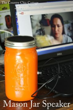 Mason Jar Speaker -- a mason jar turned into a speaker for your electronic devices....BRILLIANT!