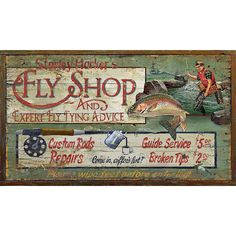 Found it at Wayfair - Harkers Fly Shop Vintage Advertisement Plaque