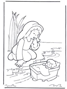 miriam from the bible for kids | Bible coloring pages / Old Testament / Moses and his mother