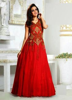 Refreshing soft net embroidered red coloured fashion gowns - #Valentine #day - http://bit.ly/1QFR1xI