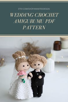 Set of 2 Amigurumi dolls in wedding costumes - crochet bride and crochet groom: gift, cake topper, wedding decoration. Crochet Doll Pattern, Crochet Toys Patterns, Stuffed Toys Patterns, Wedding Doll, Crochet Wedding, Gift Cake, Wedding Costumes, Types Of Yarn, Other Outfits
