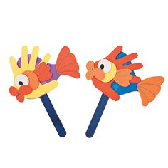 Handprint Fish Puppet Craft Kit - OrientalTrading.com   this is funny looking but the kids will love the bright colors