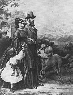 Empress Elizabeth she walks with Franz Joseph, Gisela, and Rudolf in this print.