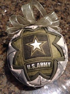 Army Fabric Quilted Ornament ball after christmas sale Quilted Fabric Ornaments, Quilted Christmas Ornaments, Christmas Balls, Christmas Crafts, Christmas Trees, Army Crafts, Military Crafts, Army Mom, Military Mom
