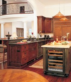 This #Kitchen #Island features a built-in wine cooler. The Santerini Plan 868. http://www.dongardner.com/plan_details.aspx?pid=2255. #Home