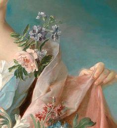 """the-garden-of-delights: """" """"Portrait of an Elegant Lady"""" (detail) by François-Hubert Drouais (1727-1775). """""""