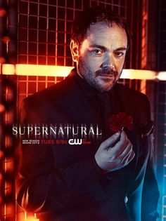 Supernatural Season 9 Promo - Crowley [These are my favorite promos I've seen for Supernatural, I think. So, continuing to look too deeply into this, is Crowley in the same cage as the others? Thank Chuck, my broships may come true. Also, notice his background is red with a touch of blue. Evil with a touch of humanity...]