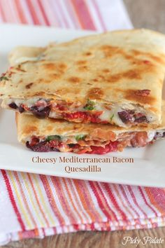 Cheesy Mediterranean Bacon Quesadillas, simple weeknight meal full of flavor!