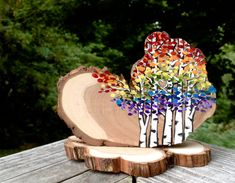 Rainbow Birch Aspen Trees Colorful Wedding Cake by JenniferLenoxVT