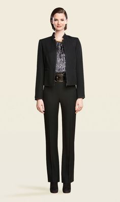 Iconic jacket and pant, Apertif silk charmeuse croco print blouse, Cinder belt. Carlisle, Fall 2013 www.carlislecollection.com