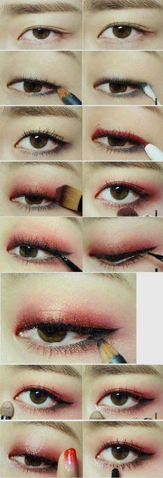 koreanisches Make-up-Tutorial -., koreanisches Make-up-Tutorial -. koreanisches Make-up-Tutorial. Korean Makeup Look, Korean Makeup Tips, Korean Makeup Tutorials, Korean Beauty, Red Eye Makeup, Makeup Eyeshadow, Eyeshadow Palette, Hair Makeup, Sparkle Eyeshadow