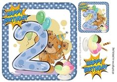 cute teddy with ice cream and balloons 2nd Birthday 8x8 on Craftsuprint - View Now!
