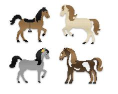 Plastic Canvas - Happy Horses----maybe work for perler beads? Plastic Canvas Ornaments, Plastic Canvas Crafts, Plastic Canvas Patterns, Cross Stitch Horse, Cross Stitch Animals, Melty Bead Patterns, Beading Patterns, Easy Patterns, Animal Patterns